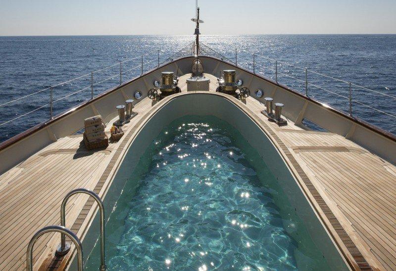 megayacht swimming pool