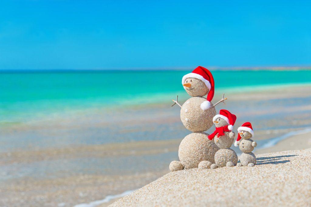 snowmen on the beach in the BVI