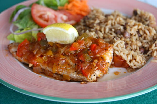 mahi mahi with pigeon peas and rice