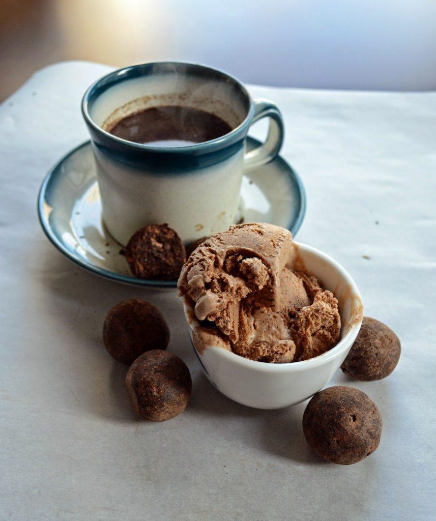 cacao tea with ice cream